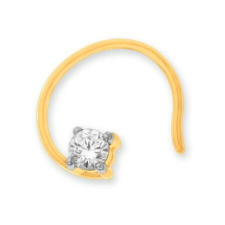 18k gold real diamond nosepin mga - rn0013