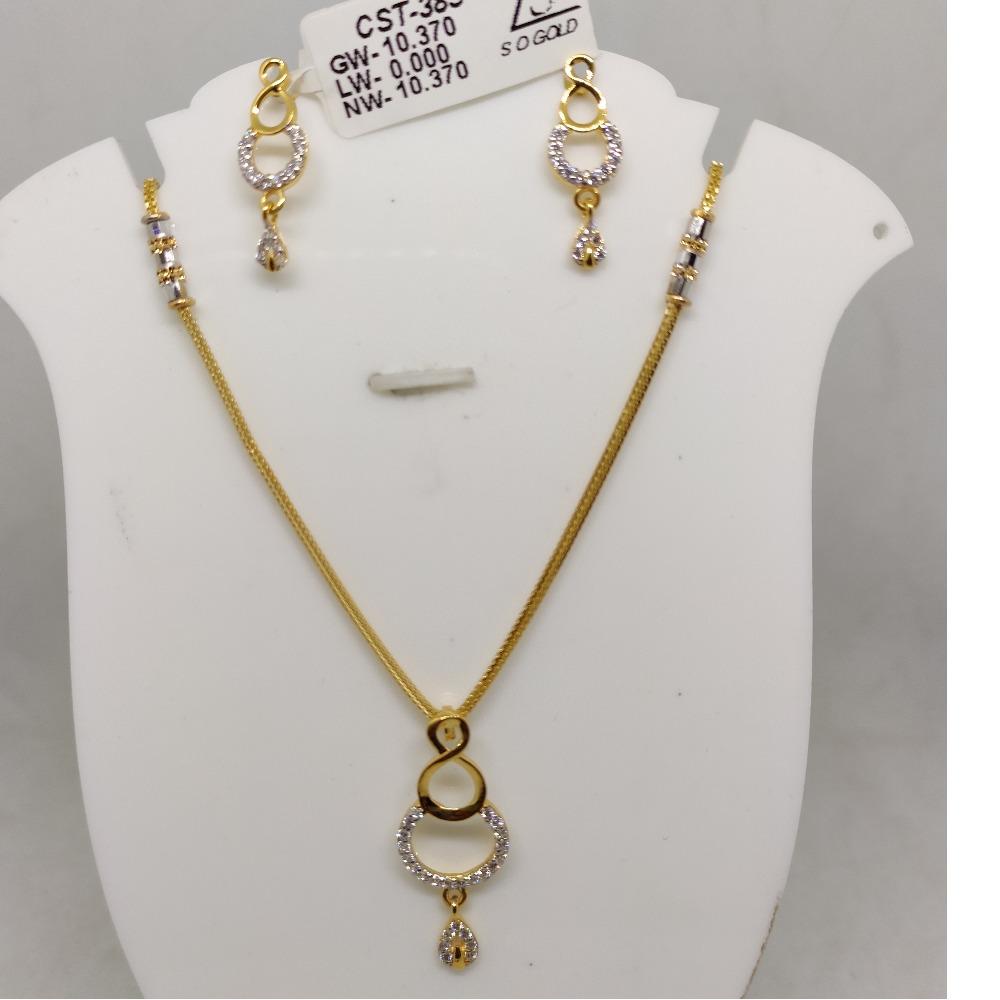 916 CZ Gold Antique Necklace Set SOG-R058