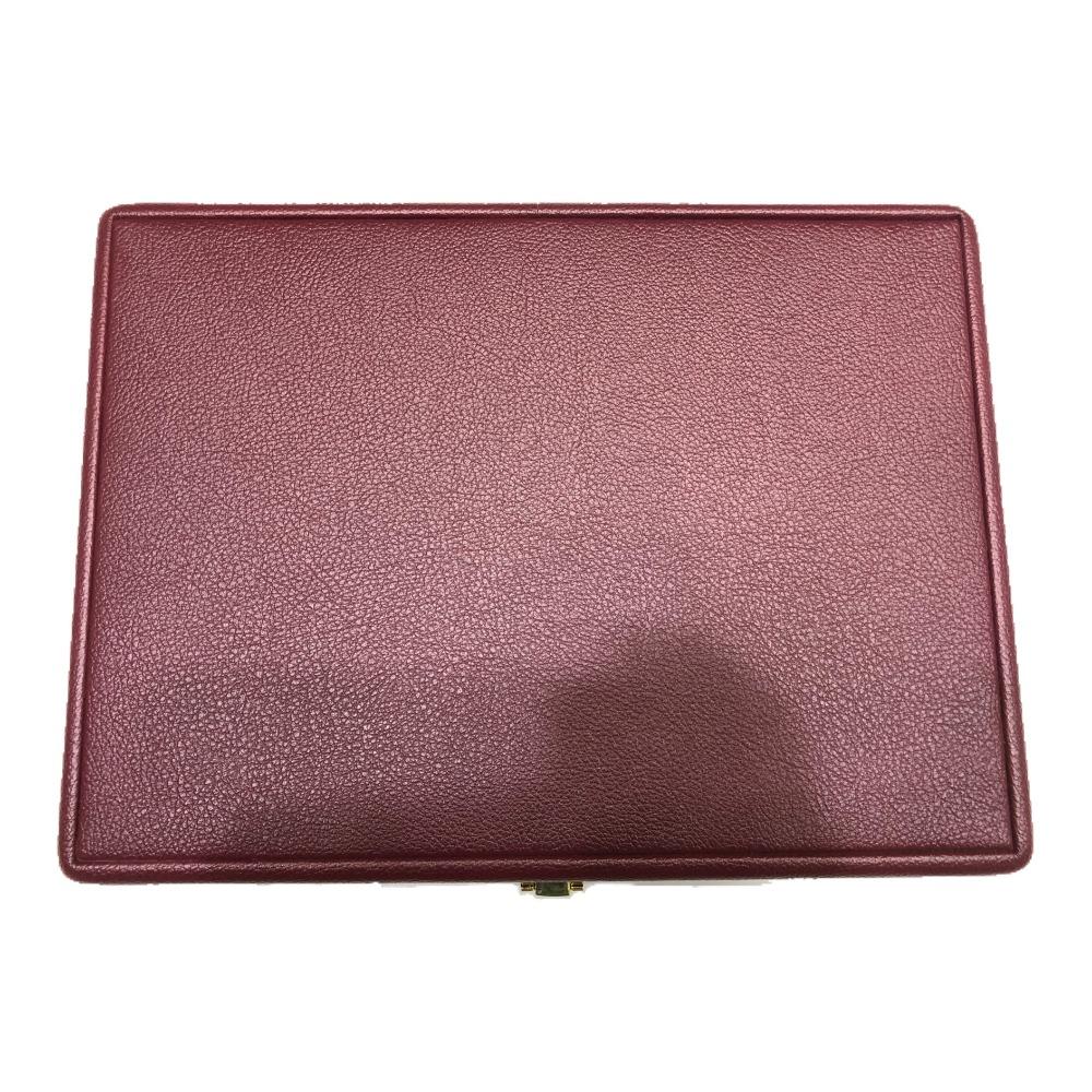 Jewellery mehroon leather stock box