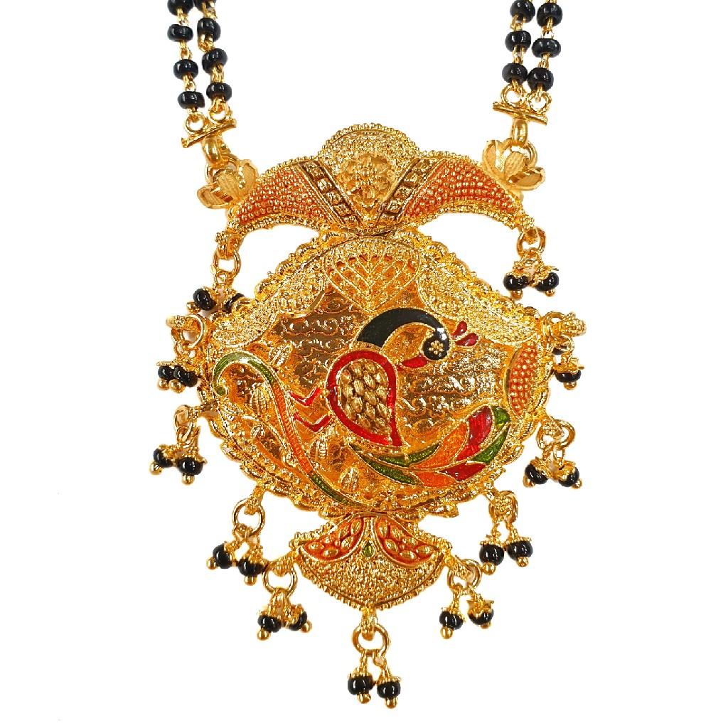 1 Gram Gold Forming Peacock Shaped Meenakari Mangalsutra MGA - MSE0459