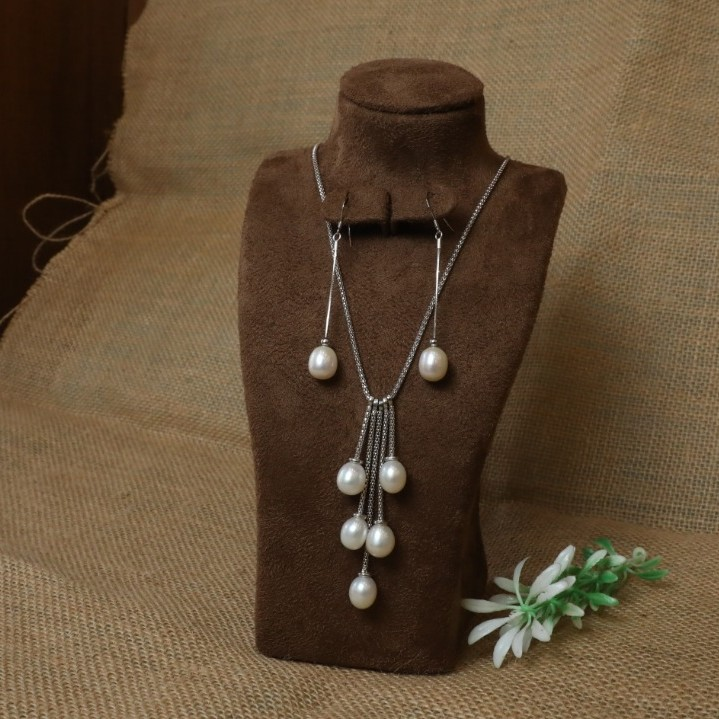 92.5 Sterling Silver Long Pearl Necklace with Pearl Earrings For Women