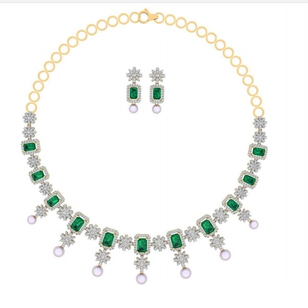 cz necklace pearl and emerald touch