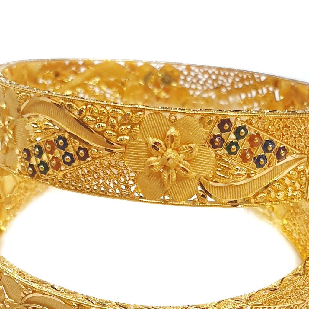 916 Gold Kalkatti Meenakari Flower Shape Kada Bangles MGA - GP073