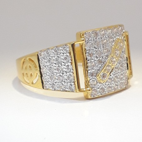 916 cz gold exclusive ring for men