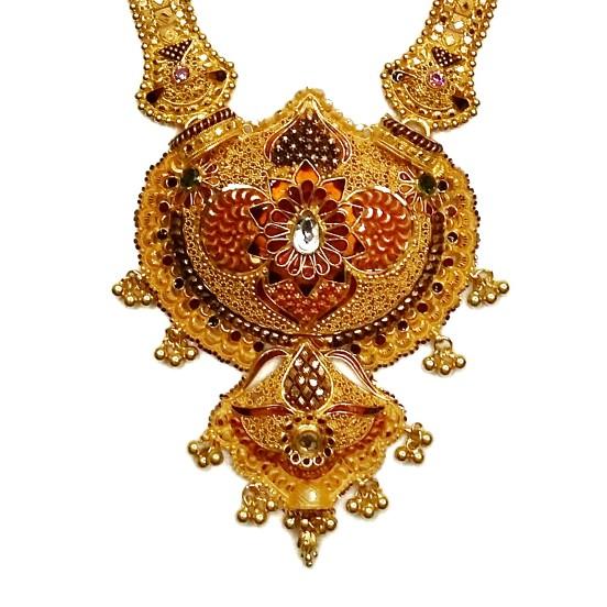 916 Gold Kalkatti Long Necklace Set MGA - GLS047