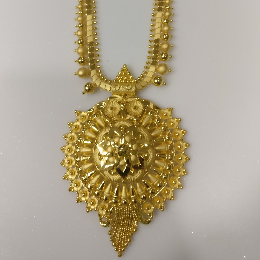 22kt gold handmade savithri haram with floral design pendant