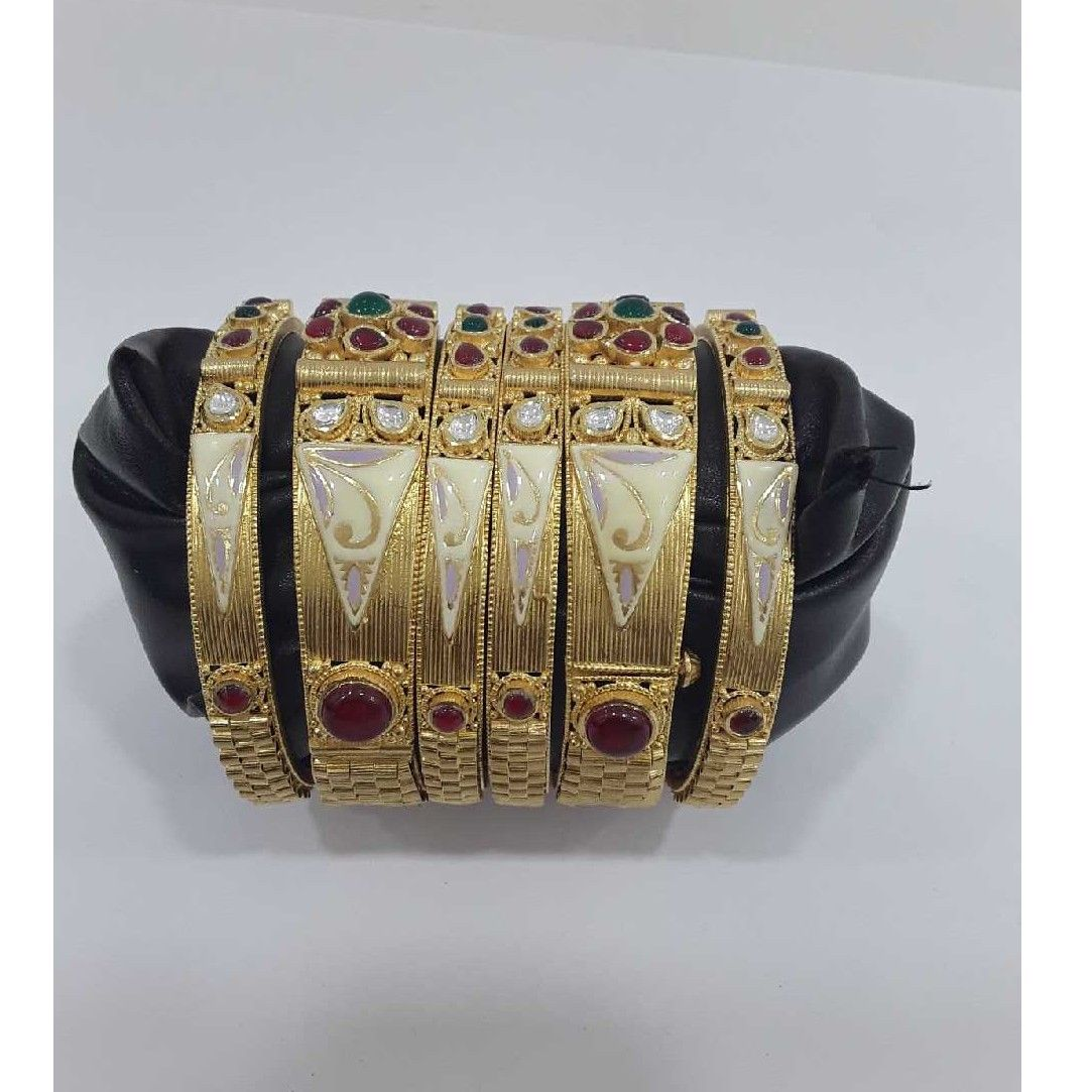 916 antique jadtar meenakari 6pcs bangles
