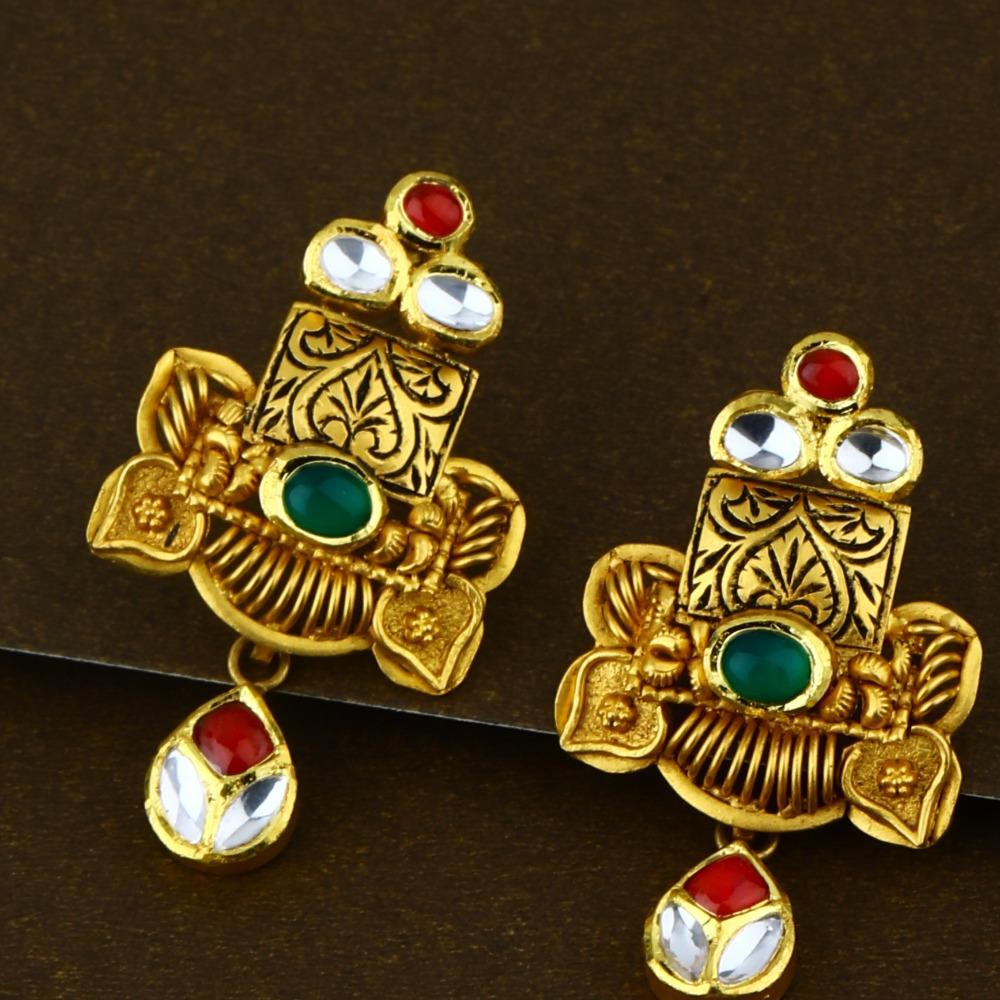 916 Elegant Kundan Bridal Gold Necklace Set