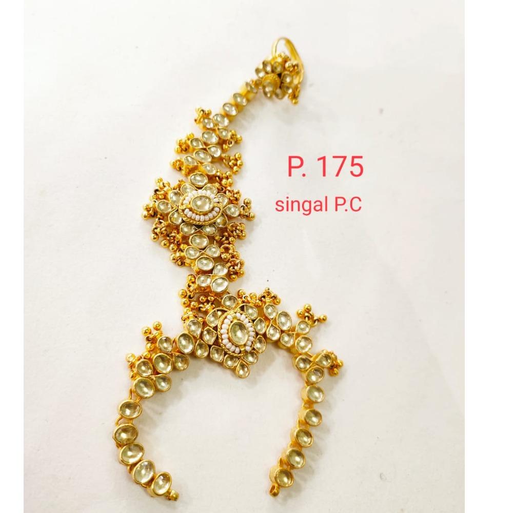 Wedding Gold plated Pearl & kundan Hath phool for Women 1400