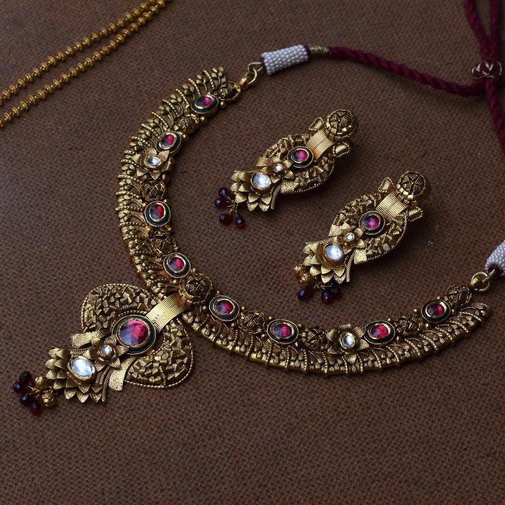 916 Gold Designer Antique Necklace VJ-N001