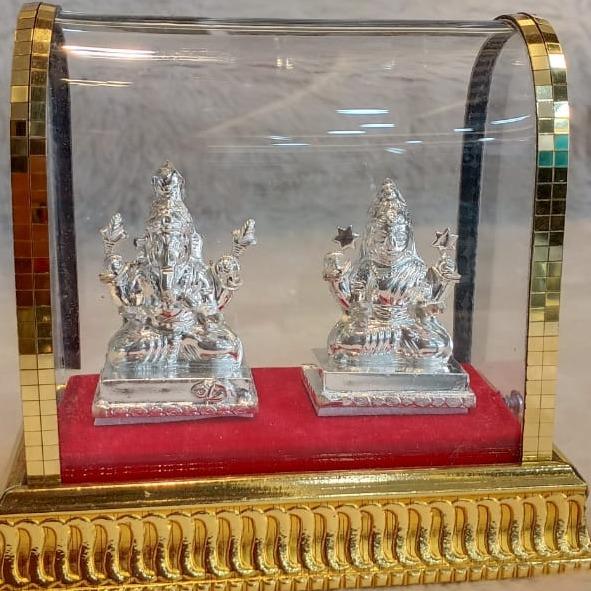 silver laxmiji + ganeshji Murti