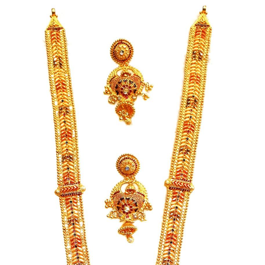 22k gold kalkatti meenakari necklace with earrings mga - gls068