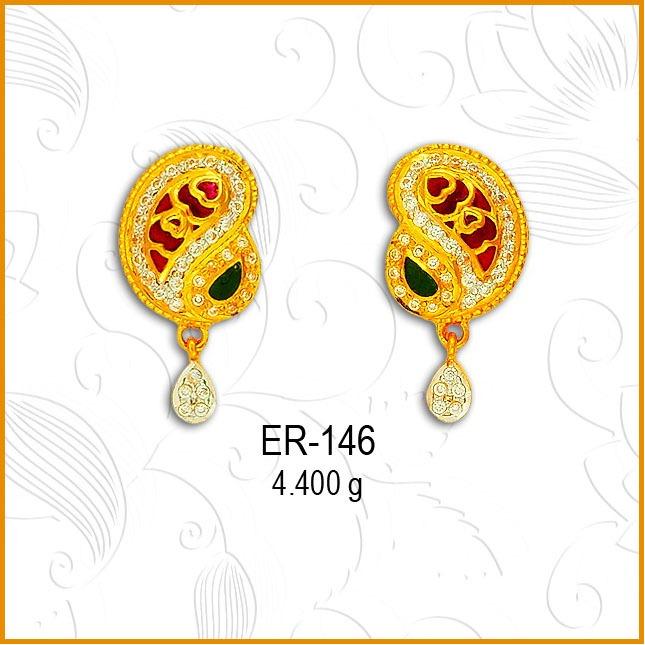 22Kt Gold CZ Keri Shape Earring ER-146