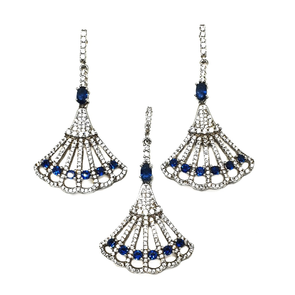 925 Sterling Silver White And Blue Diamond Pendant Set MGA - PTS0014