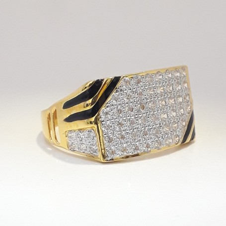 916 cz gold exclusive carving gents ring