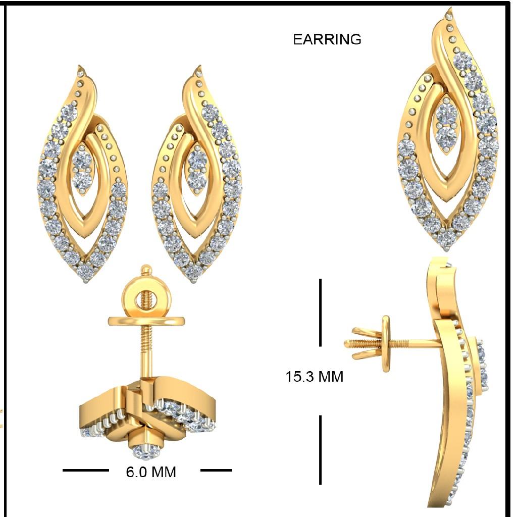 22Kt Yellow Gold Ashlesha Earrings For Women