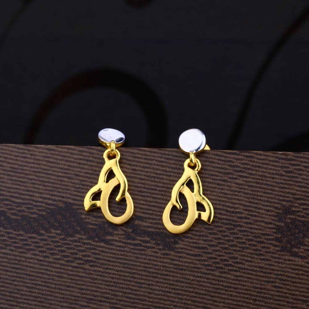 Ladies 916 Gold Designer Plain Earring -LPE24