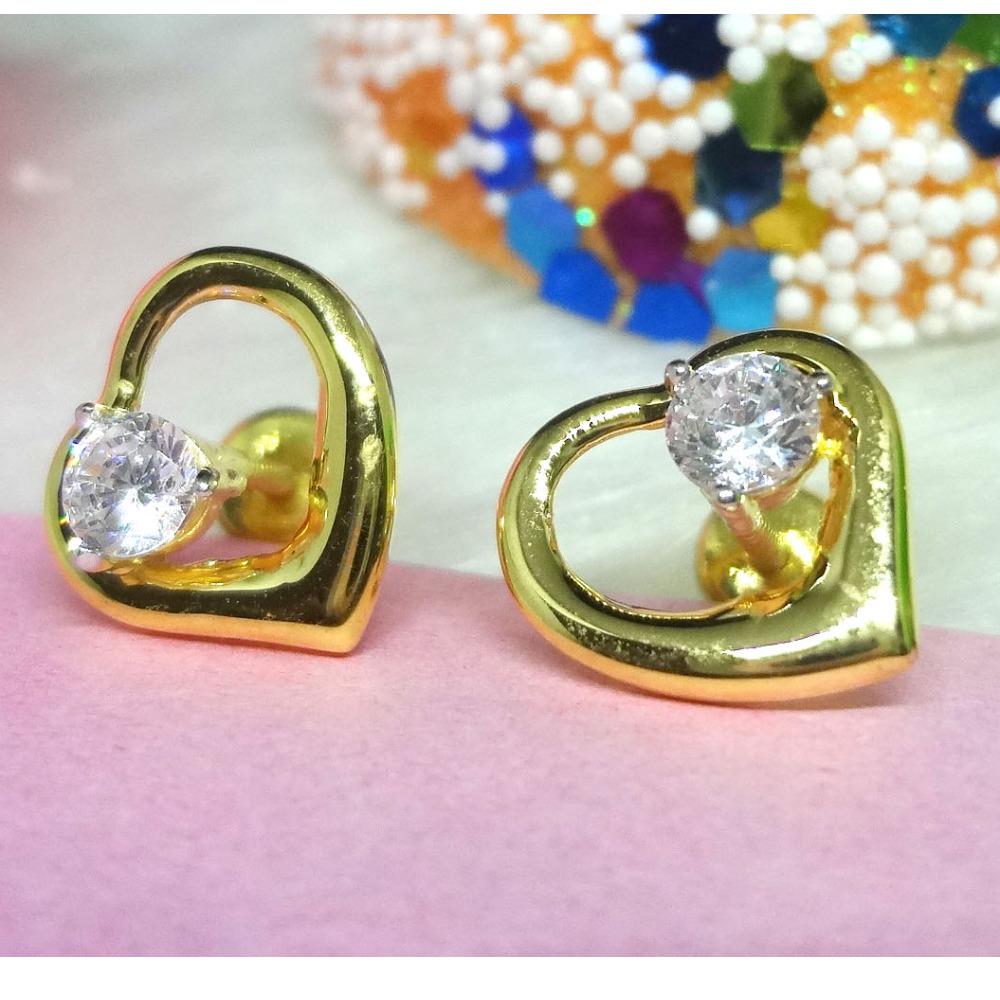 916 gold heart cz earrings