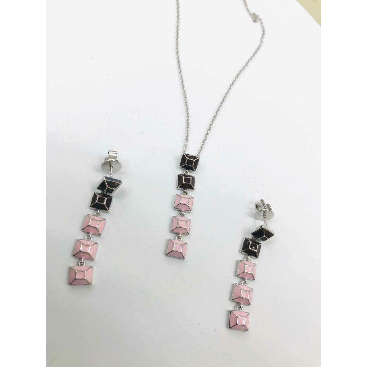 92.5 Sterling Silver Rodyam Chain With Shade Colour Pendant & Earring Ms-3112