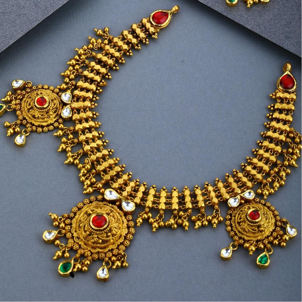 916 Gold Antique Bridal Necklace Set