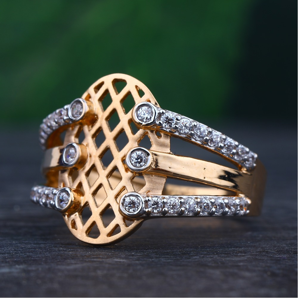 18KT Rose Gold Classic Ring For Women RhJ-47