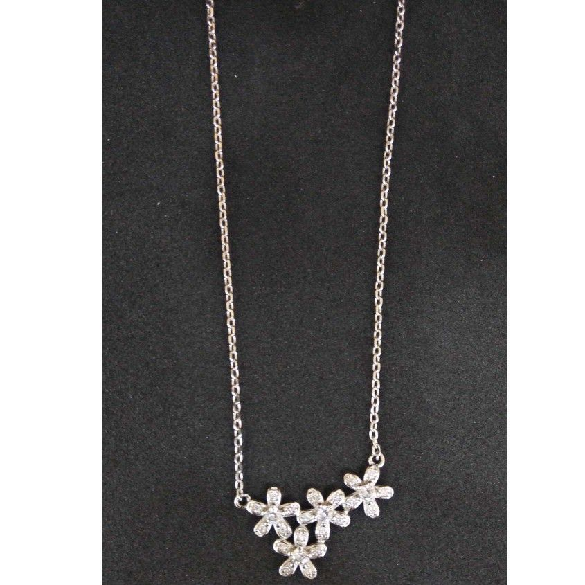 925 sterling silver flower designed pendant chain