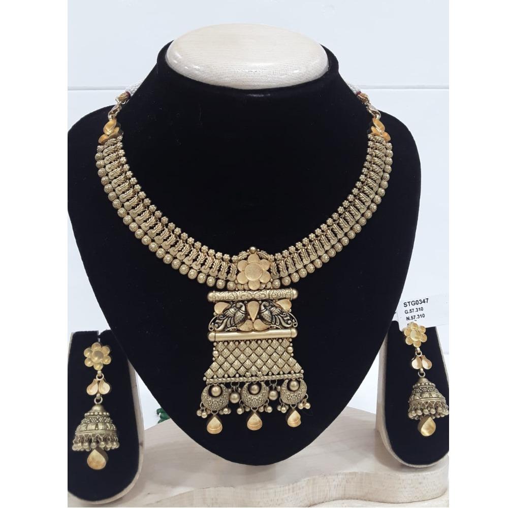 22KT Gold Peacock Design Jadtar Khokha Necklace Set VJ-N005