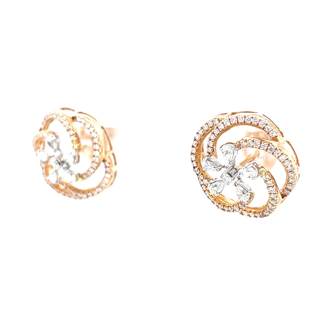 Flower with circular motif diamond tops in hallmarked rose gold
