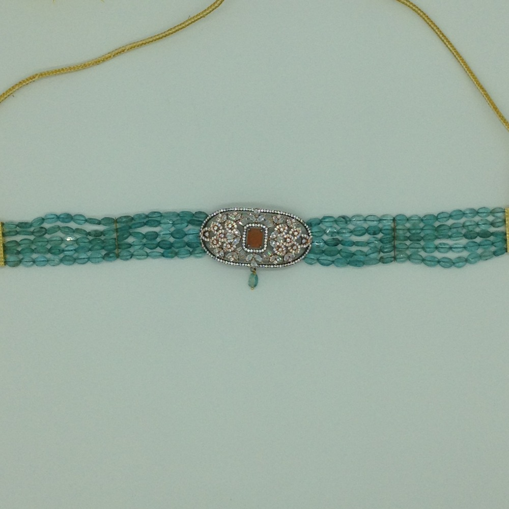 White And Orange CZ Choker Set With 5 Line Aquamarine JPS0559