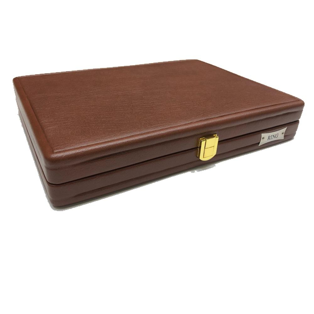 Jewellery brown leather stock box