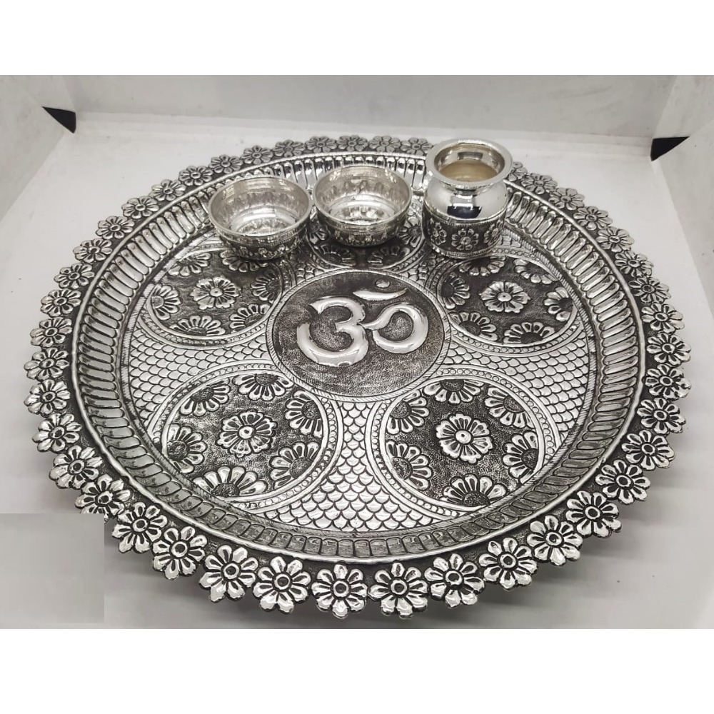 floral motifs carving pooja thali set in real silver by puran