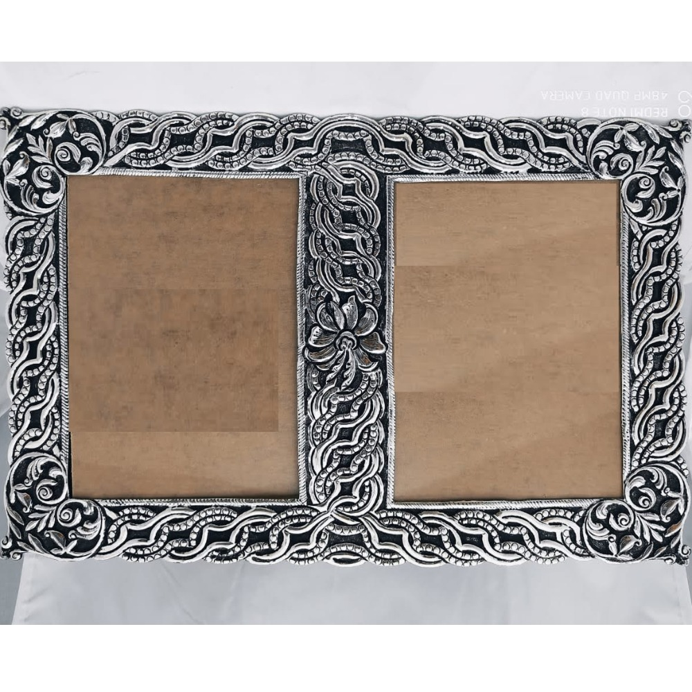 925 Pure silver photo frame in deep carvings in antique pO-171-18