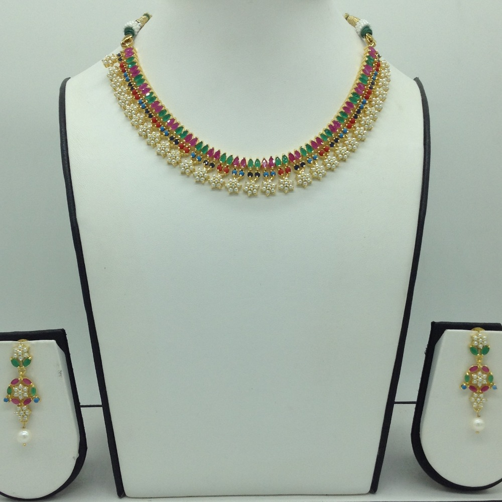 Navratan and White Button Pearls Necklace Set JNC0114