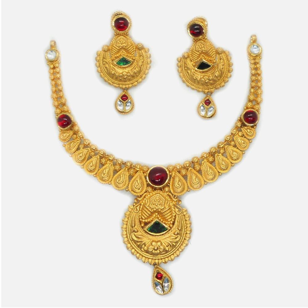 916 Gold Antique Bridal Necklace Set RHJ-6035