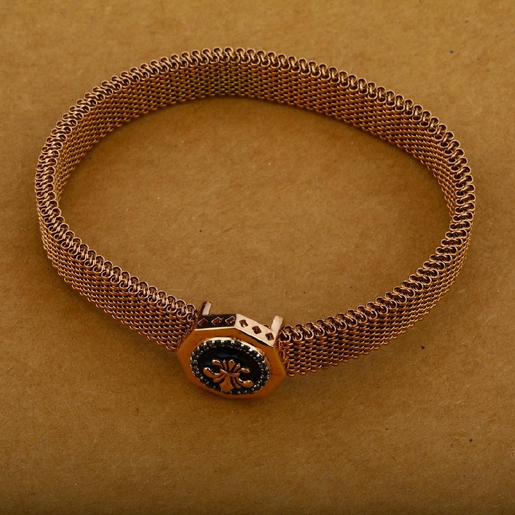 18K Mens Spring Rose Gold Leather Bracelet-MLB18