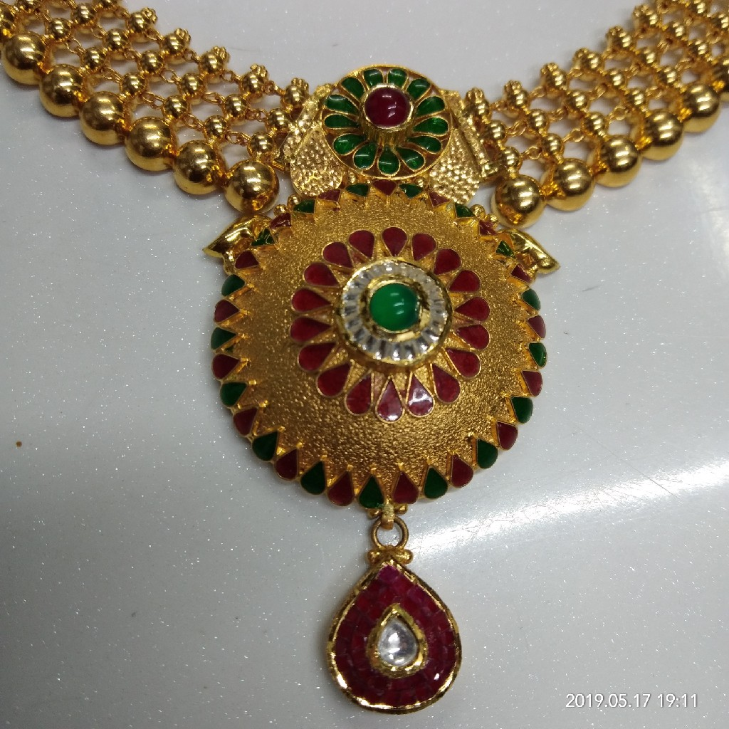 22kt Gold Antique Colorful Necklace Set