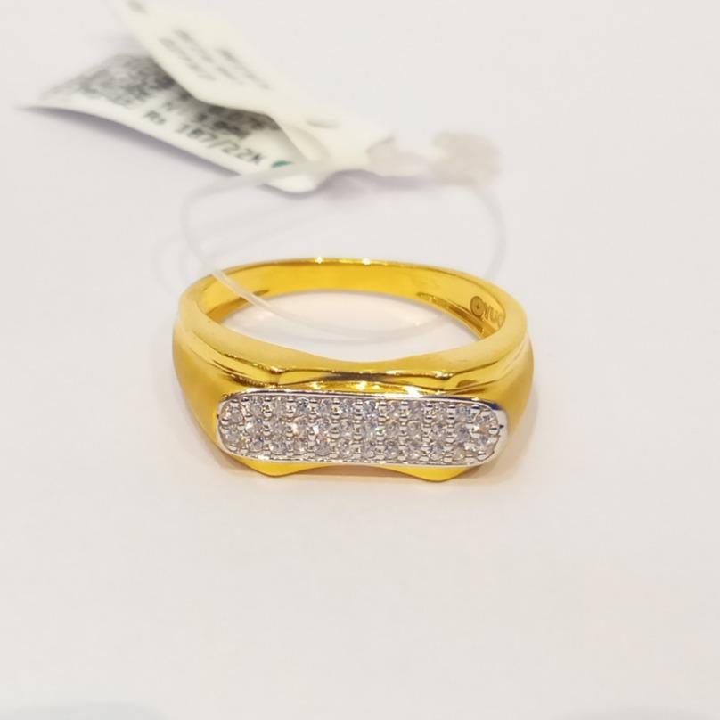 22kt gold cz fancy gents ring gk-r05