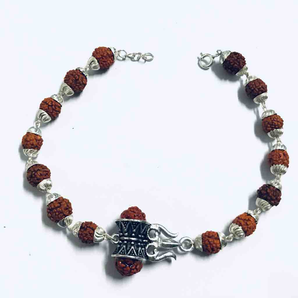 925 sterling silver Rudrax bracelet with pendant