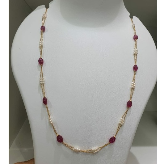 18k gold moti chain with red mani