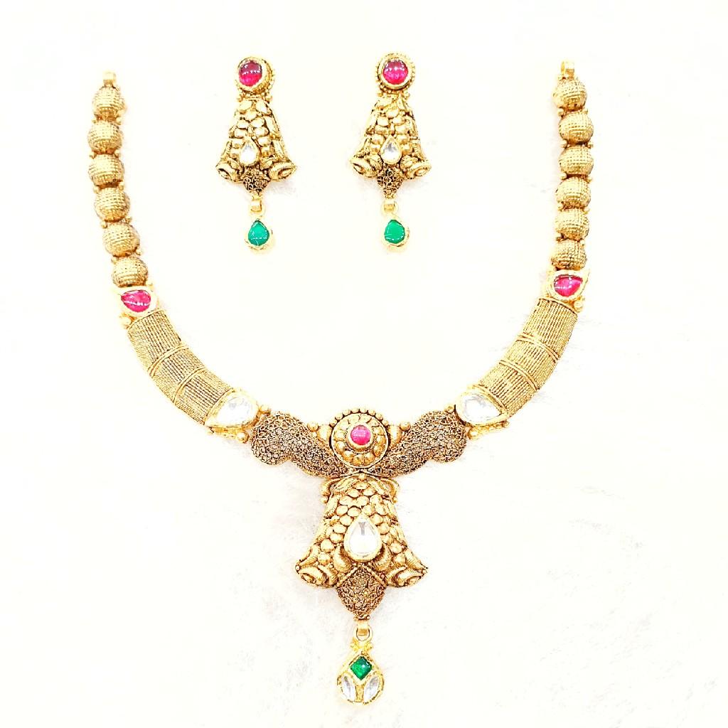 916 gold antique necklace set mga - gn010