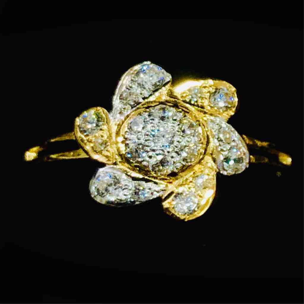 916 Gold Fancy Flower Designer Ladies Ring