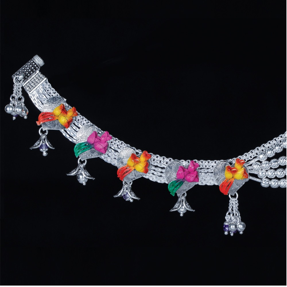 Silver Attractive Colorful Anklet
