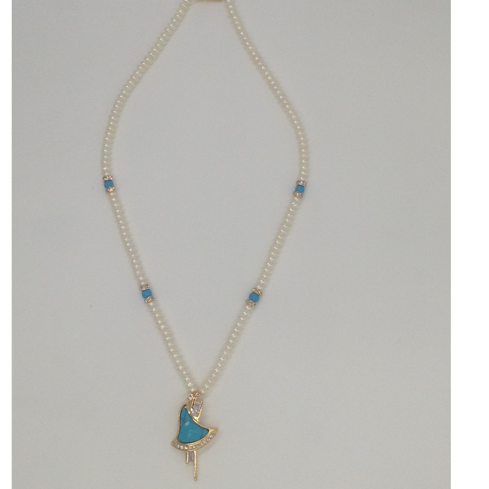 White CZ And TurquoisePendentSet With FlatPearls Mala JPS0174