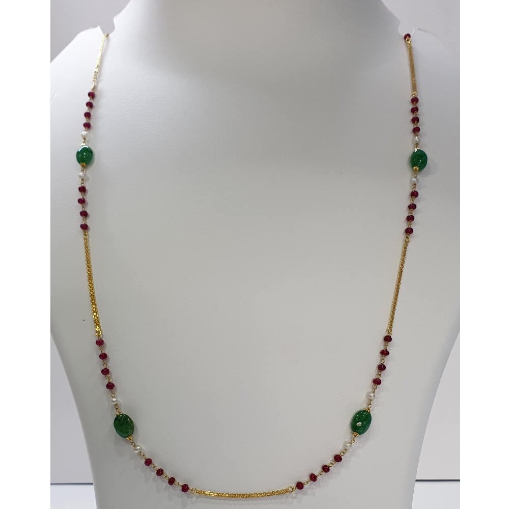 18k gold multicolor chain with panna mani