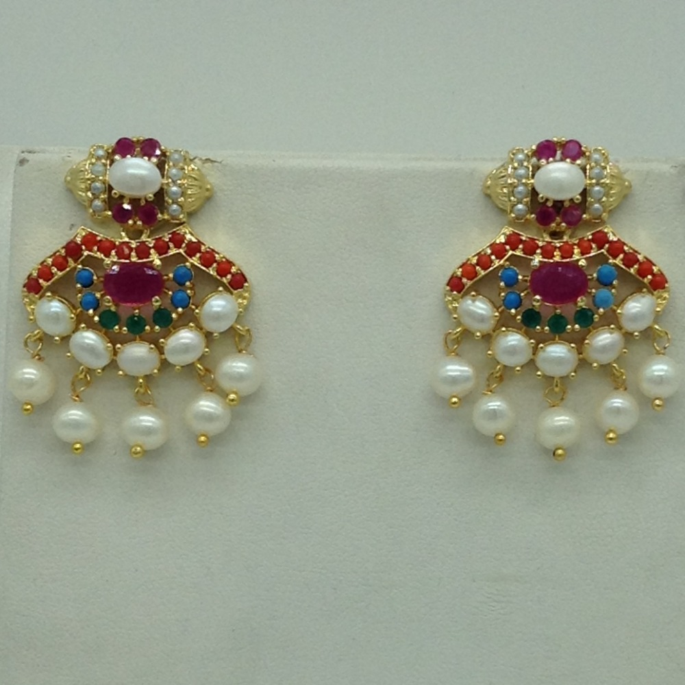 Navratan andWhite Button Pearls Necklace Set JNC0116