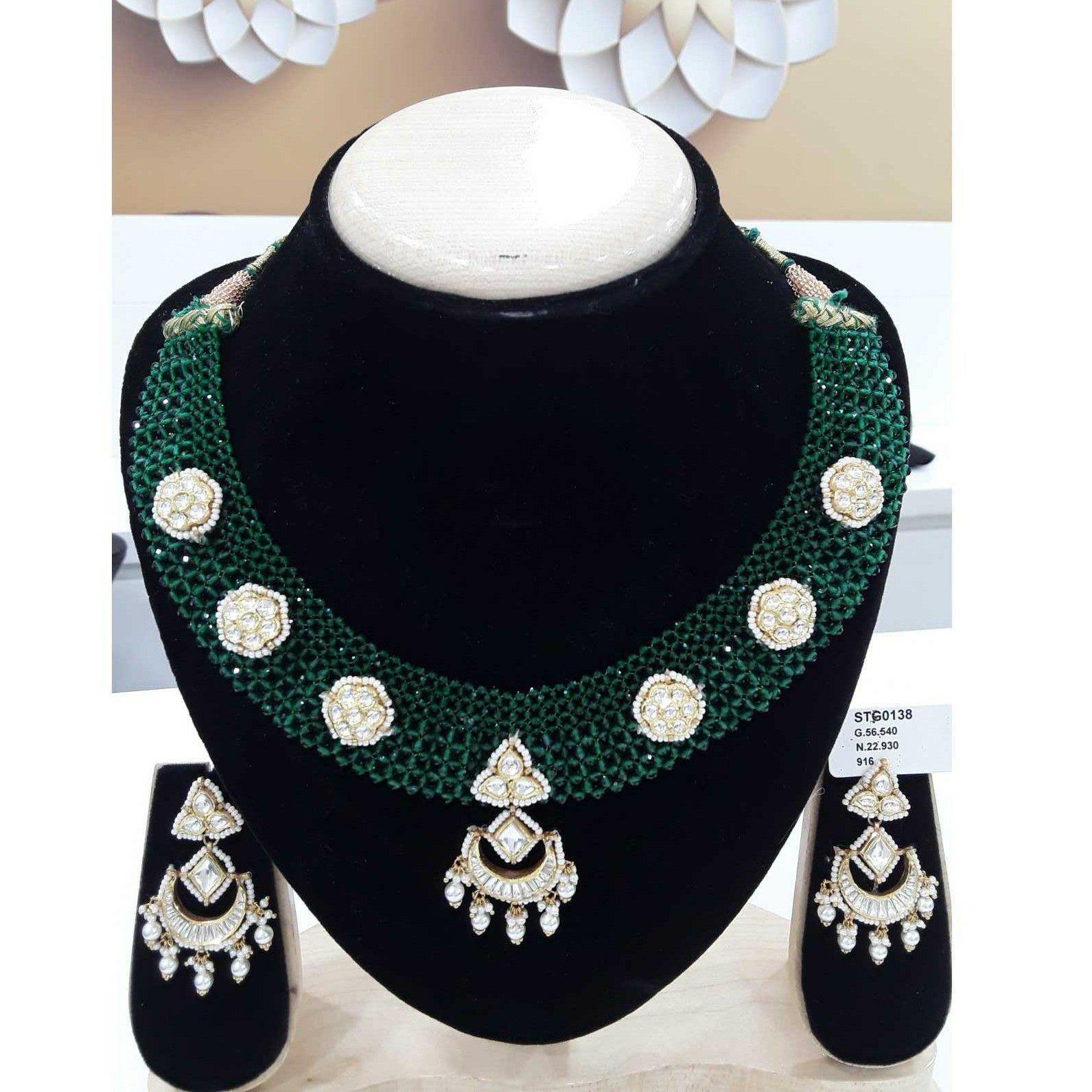 916 Antique Green Mani Moti Jadtar Short Set