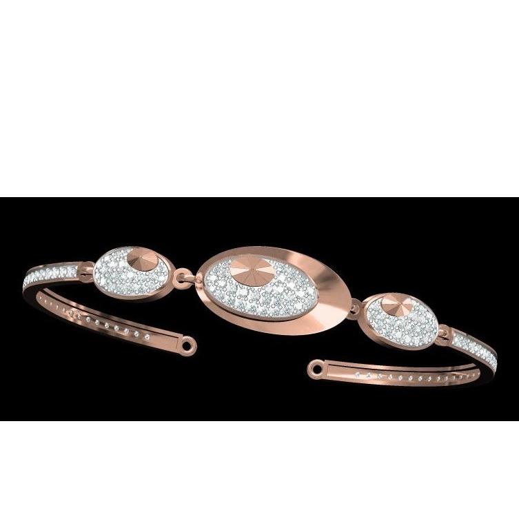 18kt cz rose gold diamond ladies kada