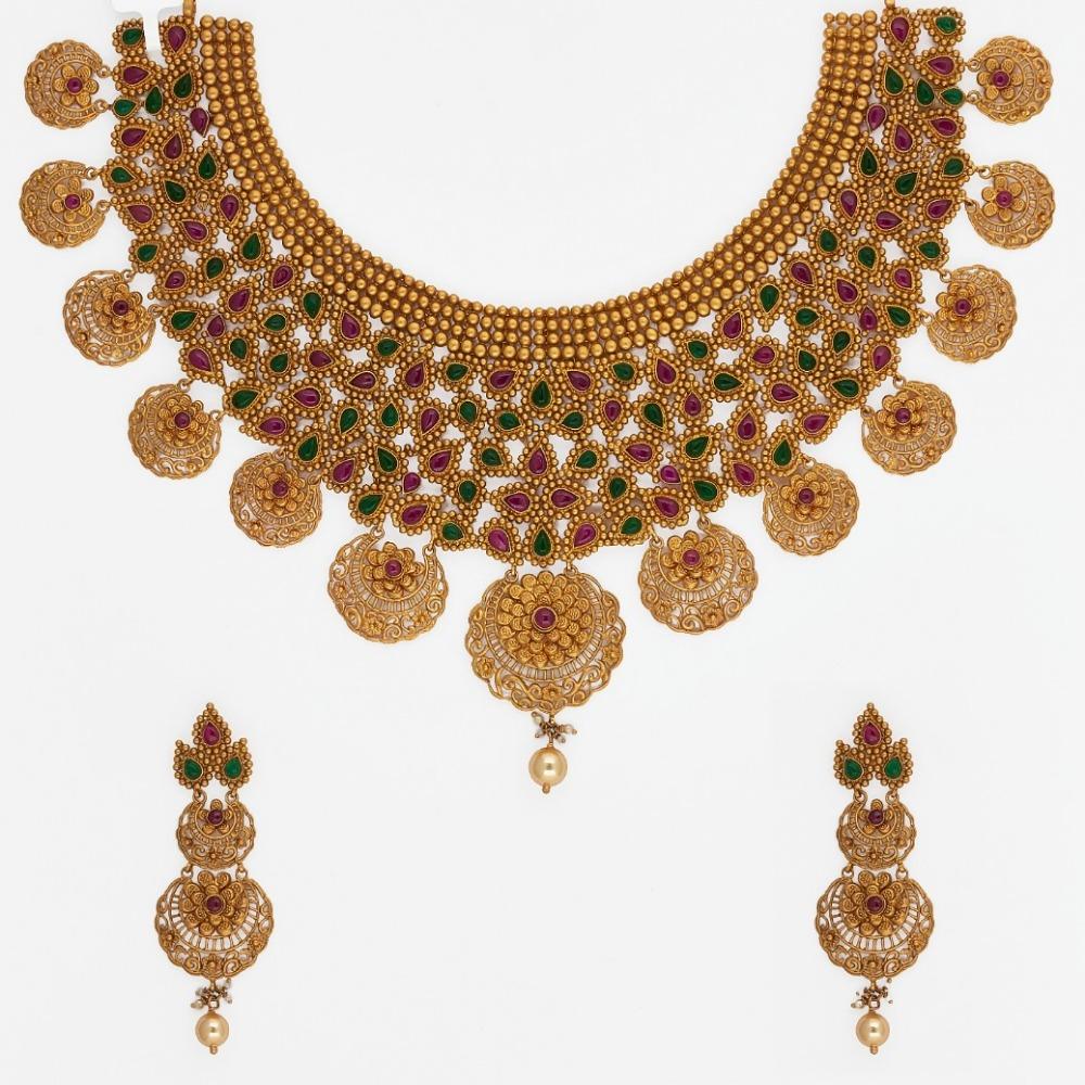 916 Gold Choker Necklace Set SJ-7487