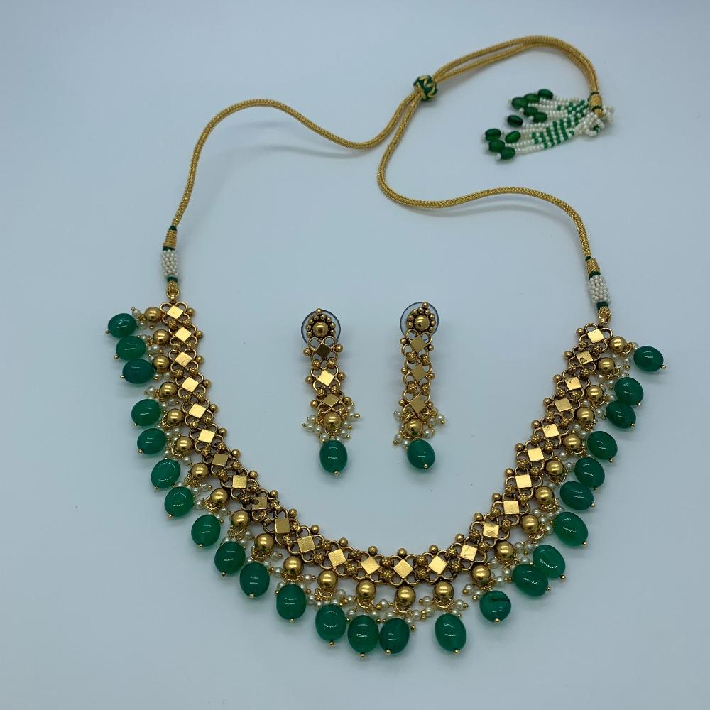 Designer Green Stone Necklace Set
