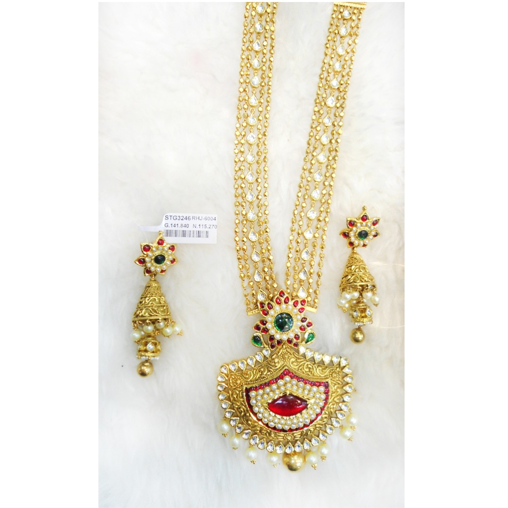 916 Gold Color Stone Bridal Long Necklace Set RHJ-6004